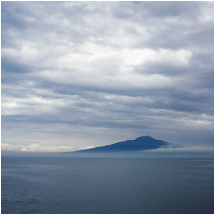 Island of Capri in the light       sea fog