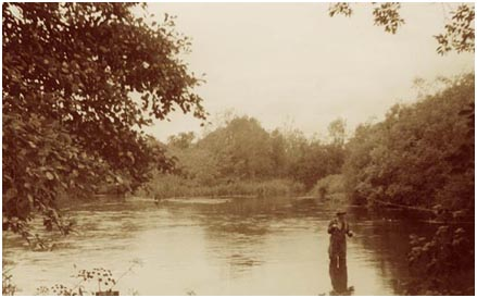 Fly fishing on the River Itchen, Hampshire