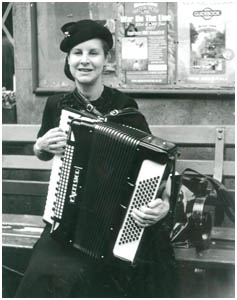 young lady playing the accordion
