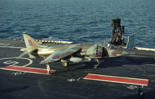 RAF Harrier GR1 touches down         on Ark Royal