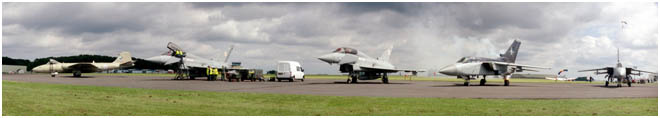 A line up of old, incoming and outgoing hardware       at the former RAF Kemble airfield