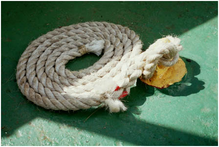 A tidy coiled up rope onboard       the SS. Shieldhall
