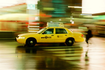 New York taxi in rain