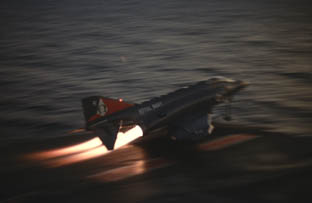 An F4J Phantom launches from Ark Royal
