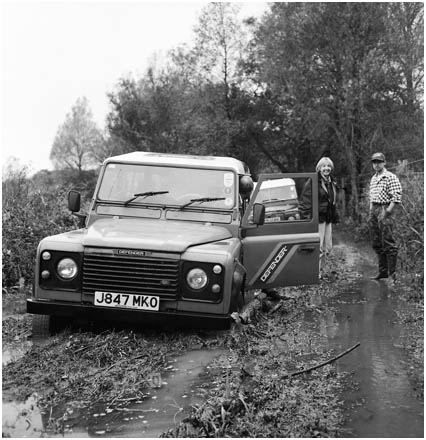 Land Rover stuck in mud