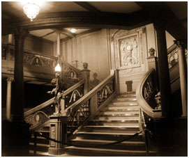 Grand Staircase to the first class reception area on board the RMS         Titanic