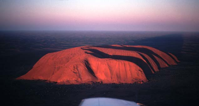 Aerial view Uluru, or Ayres Rock