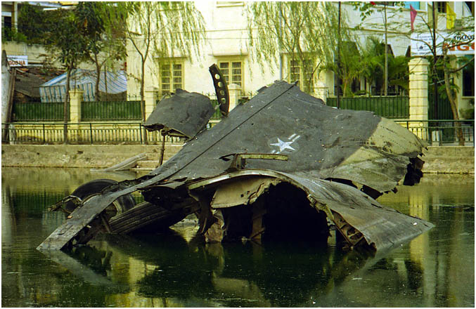 Wrecked Boeing B52 bomber in Hanoi lake