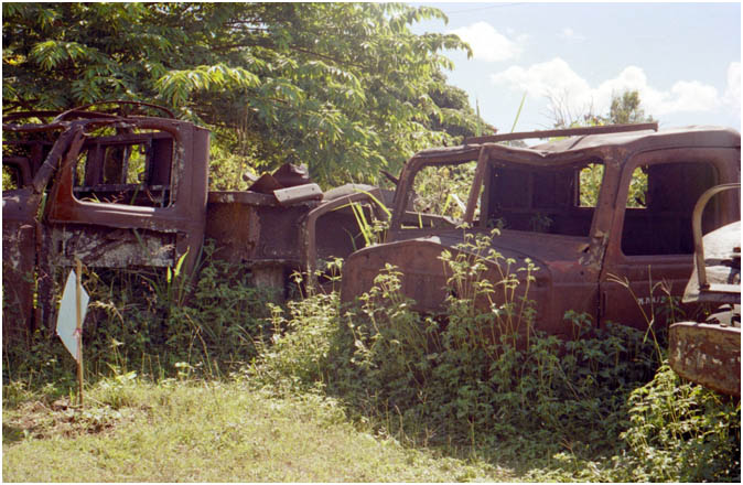 Wrecked Japanese vehicles left from WW2