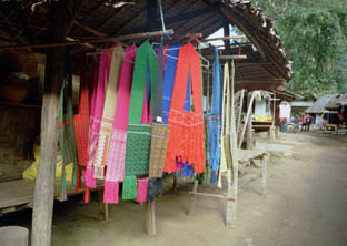 textiles made on hand looms in the village