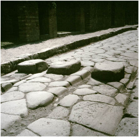 Romans built crossing points so that         pedestrians could keep their feet dry